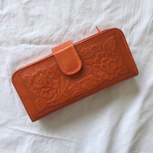 Authentic Mexican Leather Orange Floral Wallet